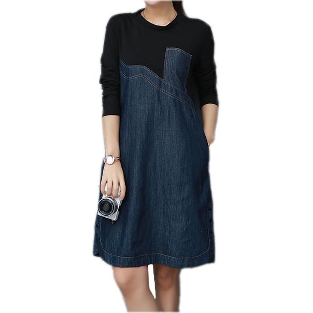 M-4XL Весна Новая мода дамы Повседневное в стиле пэчворк с длинными рукавами свободные Джинсы для женщин Платья для женщин 2018 платье из джинсовой ткани плюс Размеры женская одежда