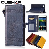 Luxury Genuine Leather Case For Huawei P8 Lite 5 PU Soft Silicon Wallet Cover For Coque