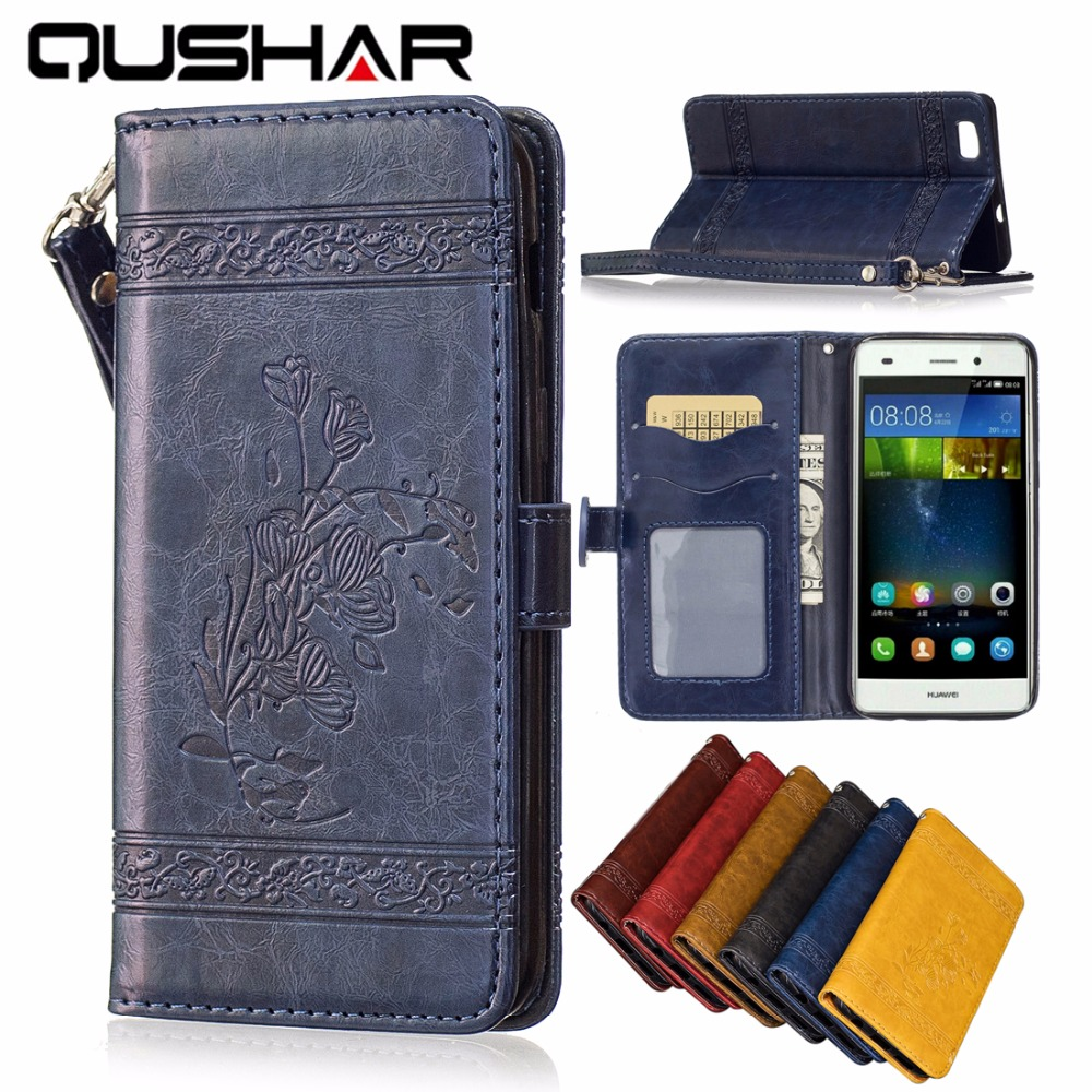 """Luxury Genuine Leather Case For Huawei P8 lite 5"""" PU+Soft Silicon Wallet Cover For Coque Huawei P8lite ALE-L21 Phone Bag Fundas"""