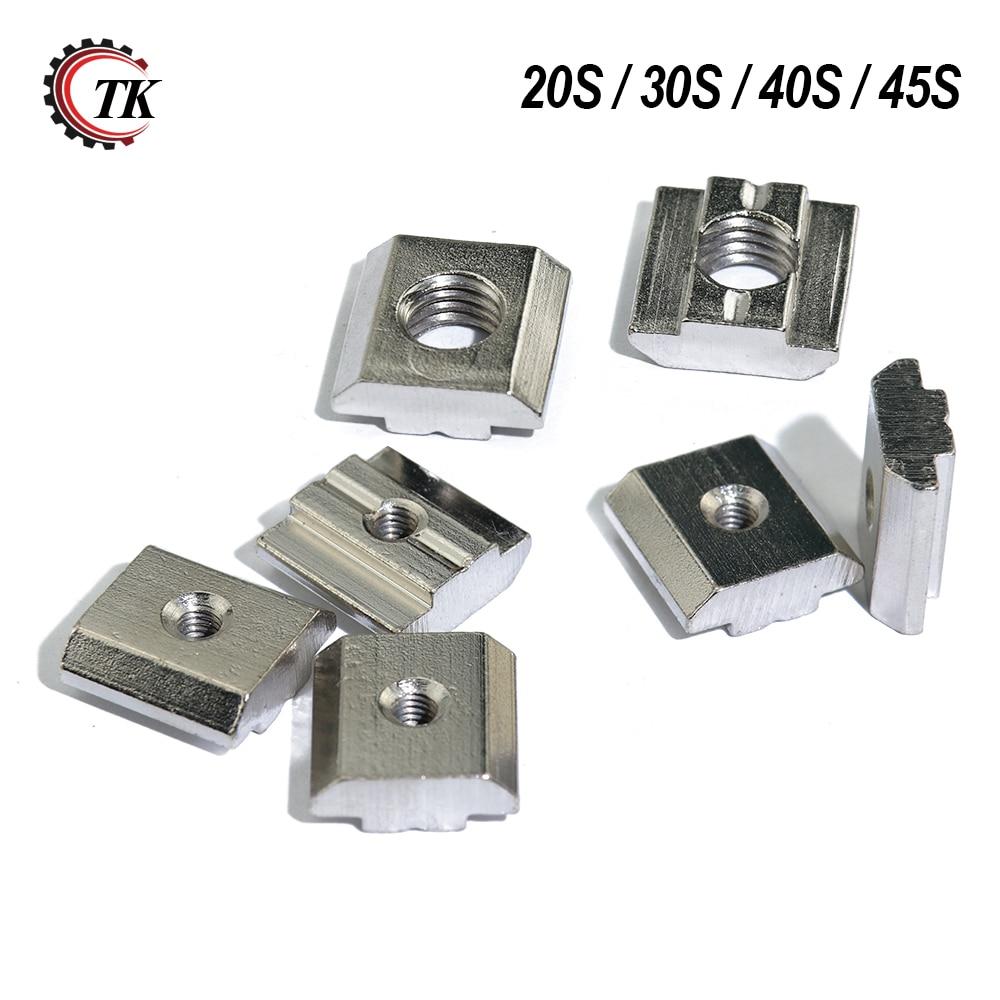 100pcs 50pcs 20pcs M3 M4 M5 M6 T Block Square Nuts T-Track Sliding Hammer Nut For Fastener Aluminum Profile 2020 3030 4040 4545
