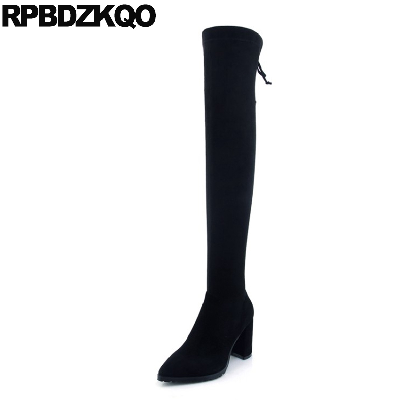 Pearl Lace Up Sheepskin Long Shoes Chunky Suede Slim Thigh Women Boots Over The Knee Brand High Heel Autumn Pointed Toe Genuine women over the knee boots black velvet long boots ladies high heel boots sexy winter shoes chunky heel thigh high boots