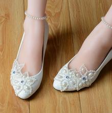 Hohe Qualität Weißer Spitze Perlen Frauen Hochzeit Schuhe Mit Bändern Schnüren Damen Party/Kleid Schuhe Spitzen Zehen Größe EU34-40