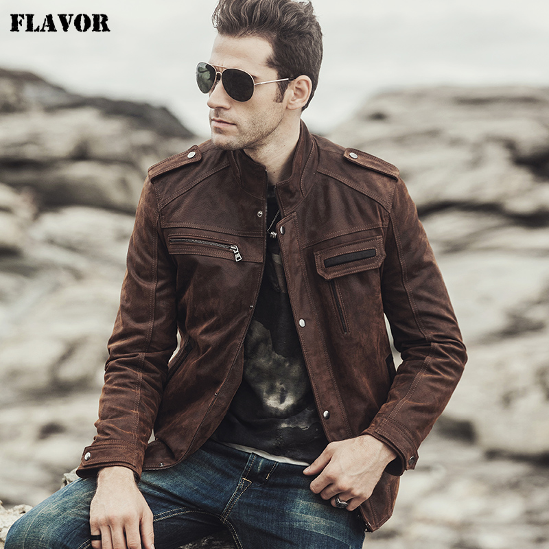 FLAVOR 2017 NEW Winter Men's Motorcycle Genuine Leather Jacket Male Retro Real Leather Jacket