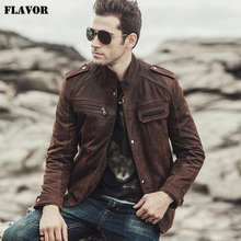 FLAVOR 2017 NEW Winter Mens Motorcycle Genuine leather jacket male Retro Real leather jacket