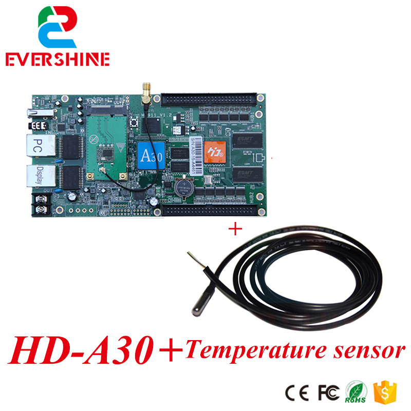 HD HD-A30 Led full color display asynchronous  control card 1024*512pixels video controller with temperature sensor bx 6q3 usb and ethernet port lintel full color led control card asynchronous video led sign controller 384 1024 512 768pixels
