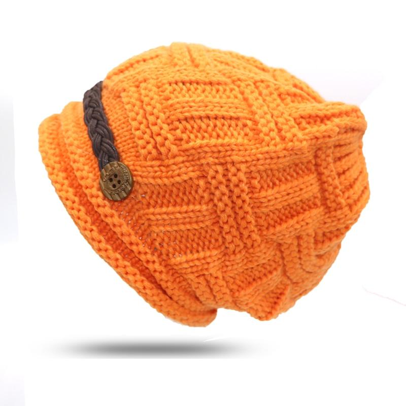 1Pcs Orange Elegant Lady Female Knitted Winter Cap Tuque   Skullies   Bonnet Winter Hats For Women Knitted Hats   Beanie   Women Gorros