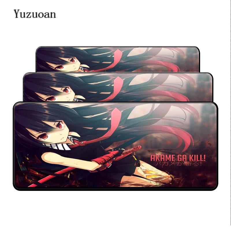 Yuzuoan 900*400*3mm XL large Soft Non-Skid Rectangle Mouse pad Akame Ga kill Beautiful Anime Best Durbale Anti-Slip Laptop