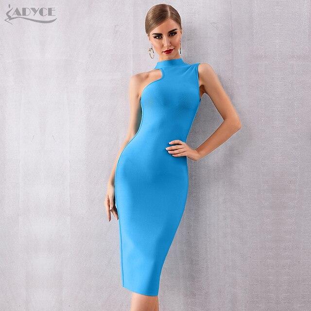 ADYCE 2020 nouveau été bleu Bandage robe femmes Sexy sans manches réservoir moulante Club robe élégante chaude célébrité robe de soirée Vestido