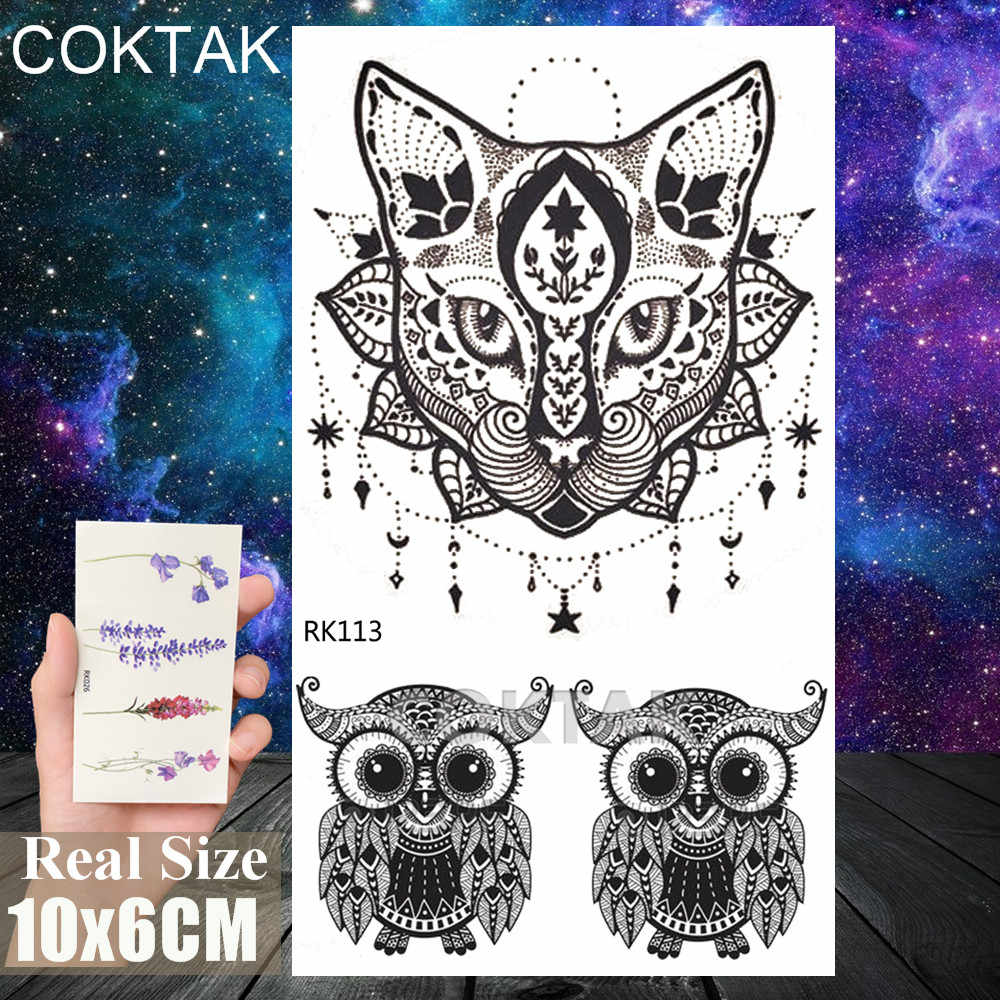 Geometric Dot Pattern Cat Temporary Tattoo Realistic Sticker Waterproof Sheet Tattoo For Men Women Body Art Legs Arm Tatoo Decal Aliexpress