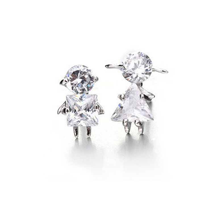 korean real 925 sterling silver boy girl figure zircon earrings for women hot fashion sterling-silver-jewelry brincos pendientes