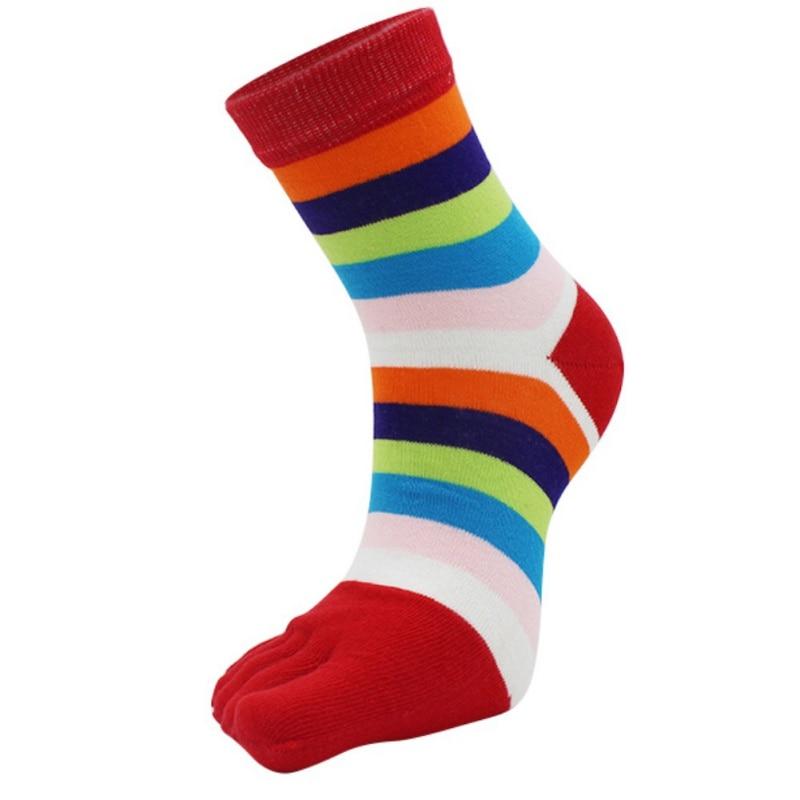 2018 New Arrival Colorful Striped Pattern Women Ladies Cotton Toe Socks Female SocksCute Five Fingers Socks 7 Colors