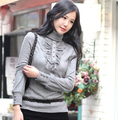 New Turtleneck Ruffles Knitted Pullover Plus Size Casual Slim Pullover  For Women 2017 Autumn Winter sweater S-4XL 9678
