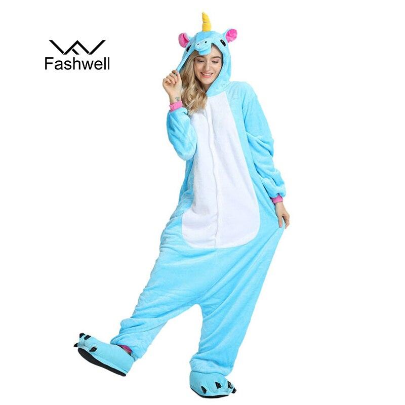 Winter Adults Animal Kigurumi   Pajamas     Sets   Cartoon Sleepwear Women   Pajamas   Unisex Flannel stitch   Pajamas   Unicornio Sleepwear