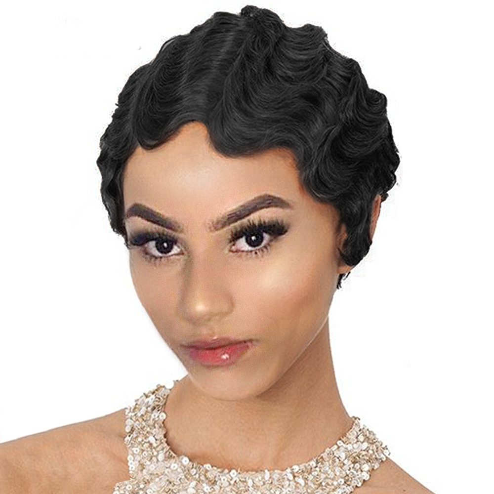 Short Curly Wigs For Black Women Retro Wig Female Synthetic Hiar Finger Wave Wig Cosplay