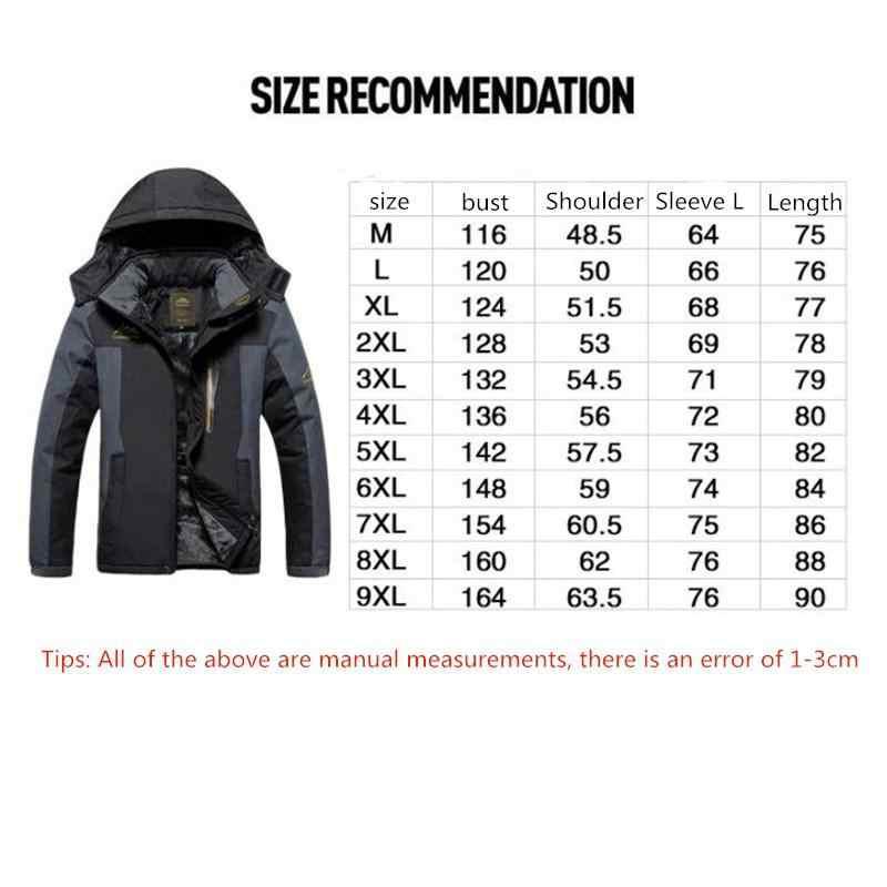 新 2018 男性の大人の冬の屋外フードフリース肥厚防風防水ジャケットキャンプトレッキングスキージャケット M-9XL