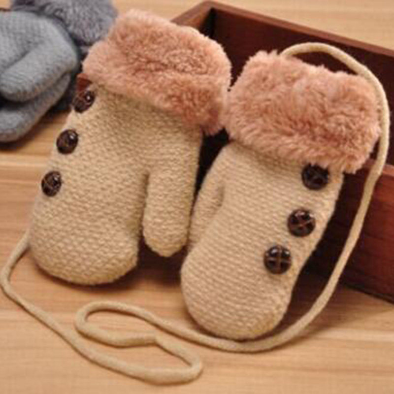Lovely Winter Children' S Knitting Button Mittens Double Thickening Warm Kids Gloves Boy/Girls Plush Cuffs Fur Wool Gloves L39
