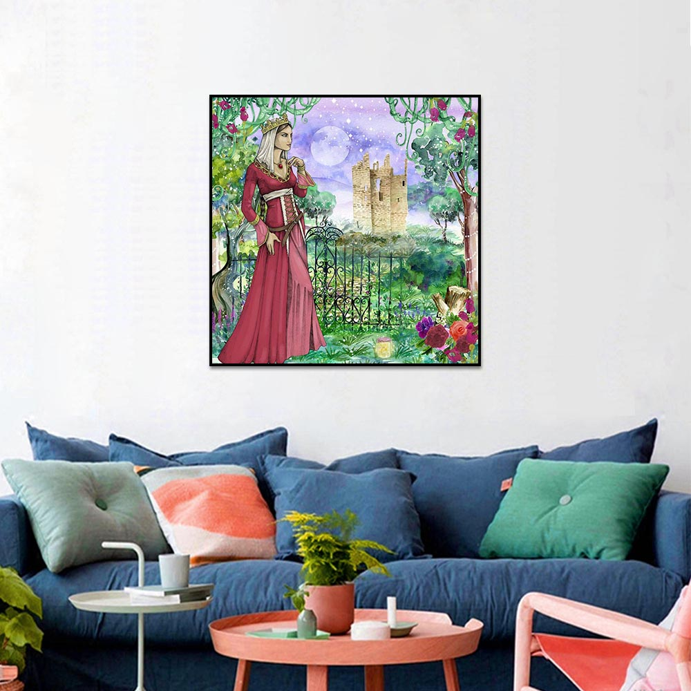 Unframed Canvas Prints Oil Painting Full Moon Woman Flower Vine Prints Wall Pictures For Living Room Wall Art Decoration