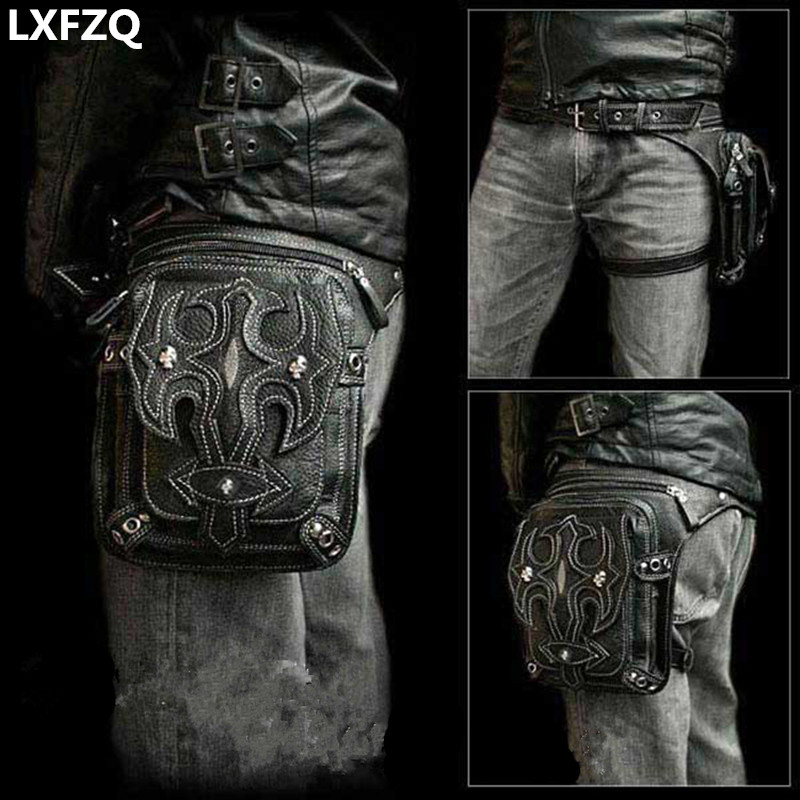 Steampunk Holster Protected Purse Shoulder Backpack Purse leather Men s bag carteras mujer thigh Motor leg