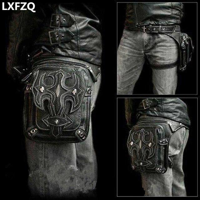b6938766d3721 Steampunk Kılıf Korumalı Çanta Omuz Sırt Çantası Çanta deri erkek çanta  carteras mujer uyluk Motor bacak