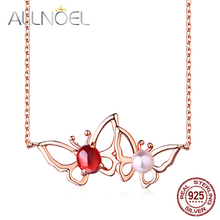 ALLNOEL Real  925 Sterling Silver Necklace For Women Rose Gold 100% Natural Moissanite  Garnet Pearl  Butterfly Wedding Jewelry