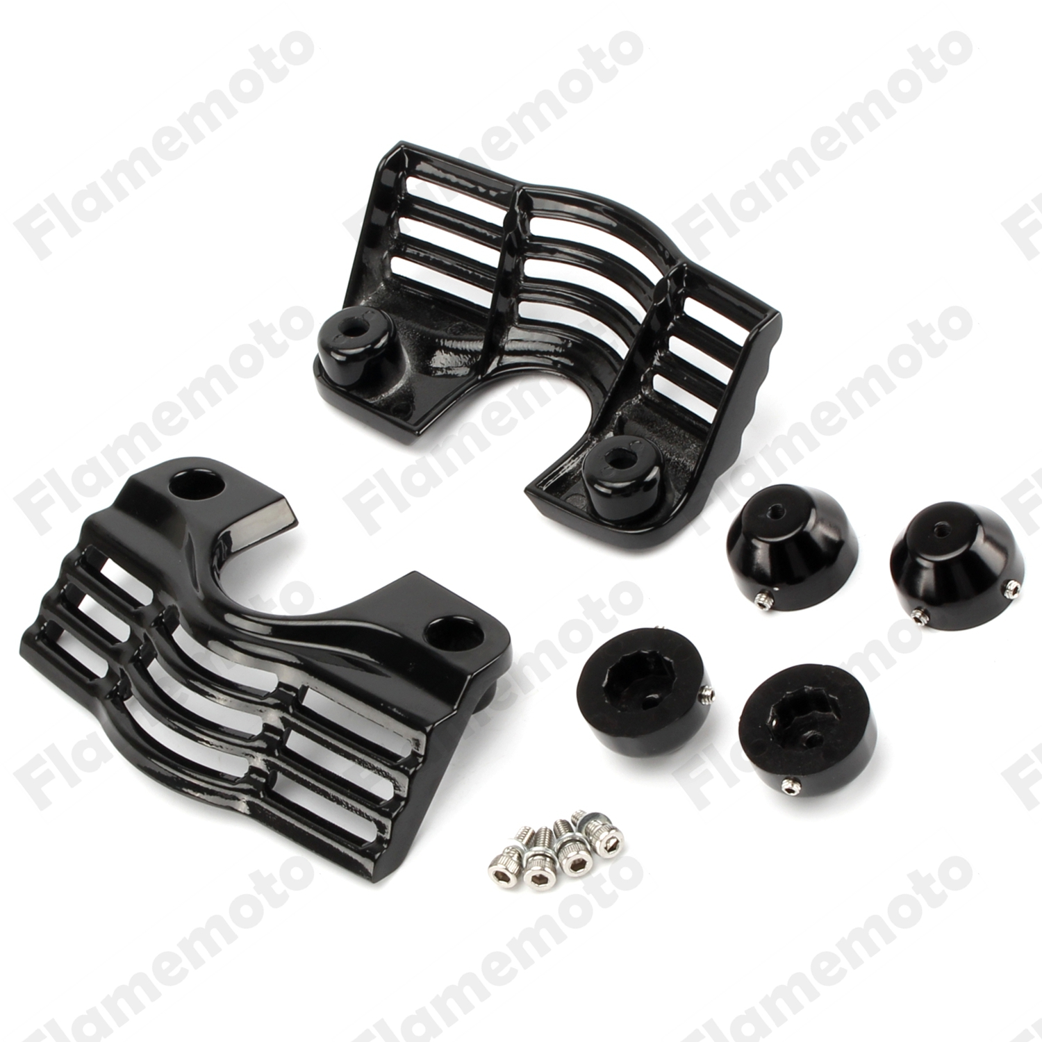 ФОТО Motorcycle Accessories Black Finned Spark Slotted Plug Head Bolt Covers For Harley Trikes Road King
