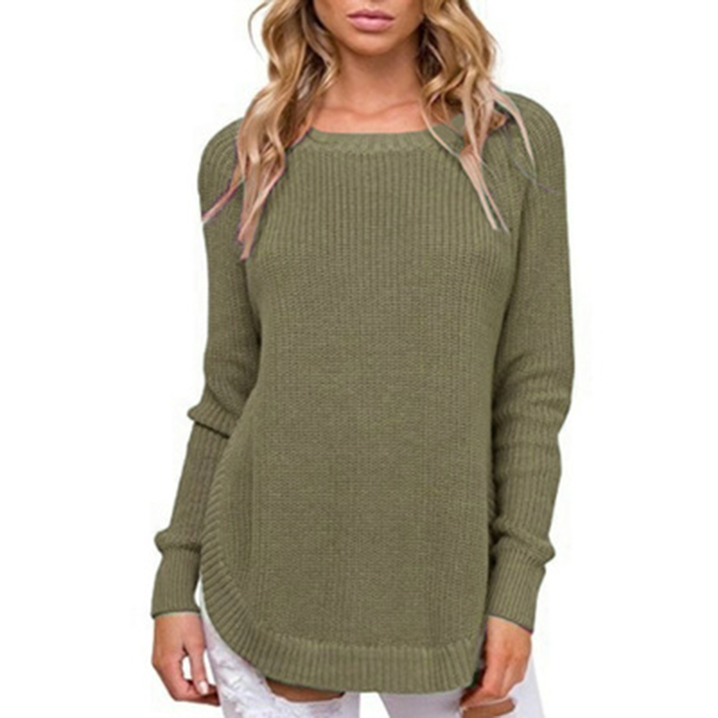 Side Split Sweaters O-neck Knitted Jumper Casual Pullover Solid Outwear Femme Plus Size Sweater