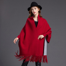 Women's Shawl Wrap Open Front Poncho Cape With Shoulder Double-sided Solid color coat недорого