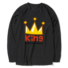 8038034920a Letter King Queen Printed Mens T Shirt Single Dog Funny Long Black White  Tshirt Men Casual