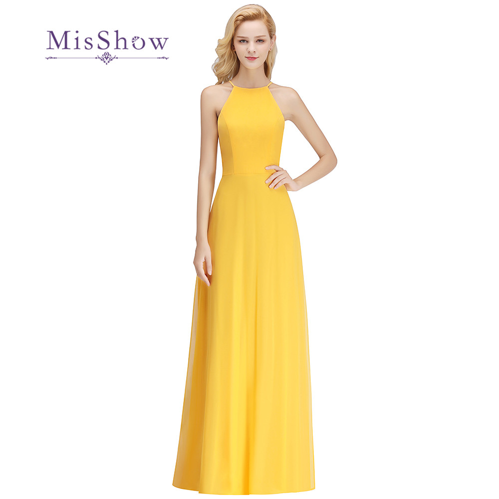 New 2019 Yellow   Bridesmaid     Dresses   Halter A-line Sleeveless Wedding Multiple Colors Party   Dress   Elegant for Women