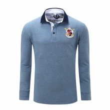Mens  Turn-down Collar Long Sleeve Autumn Cotton Solid  Loose Comfort Leisure Polo Shirts