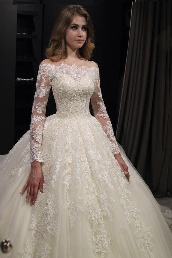 Image 3 - Novo lindo vestido de baile vestidos de casamento vestido de  baile do vintage laço vestido de casamento manga longa barco pescoço  robe de marieeVestidos de Noiva