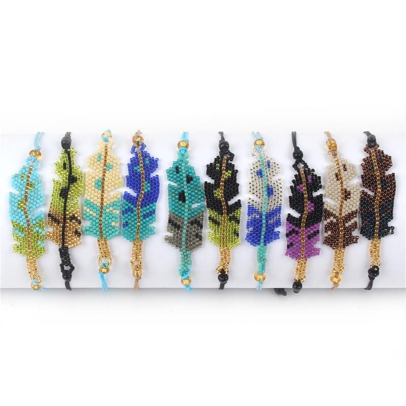SHINUSBOHO Delica Bead Leaf Bracelets Men Miyuki Pulseras Link Chain Women's Bracelets Bangles Leaves Jewelry Bestfriend Gifts