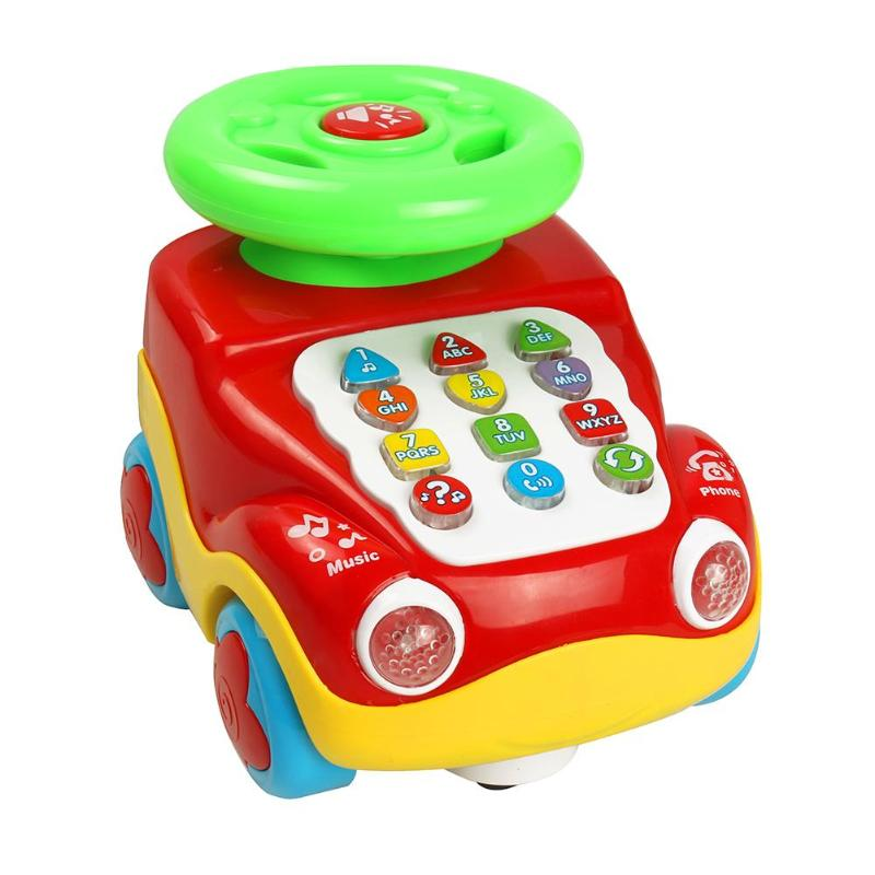VKTECH Newborn Baby Early Educational Car Toys Kids Music Toys for Children Birthday Christmas Gifts Montessori Car Models Toys