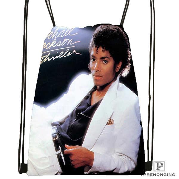 Custom Michael-jackson  Drawstring Backpack Bag Cute Daypack Kids Satchel (Black Back) 31x40cm#180611-03-111