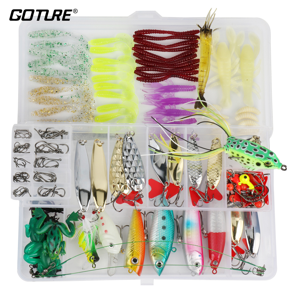 Goture 175pcs Fishing Lures Set Include Minnow Popper Crank Spinner Metal Spoon Swivel Soft Bait Kit with Fishing Tackle Box goture 96pcs fishing lure kit minnow popper spinner jig heads offset worms hook swivels metal spoon with fishing tackle box