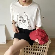 купить Women harajuku T-shirt 2018 Summer Simple Printing Cotton T Shirt Casual Loose O-neck Comfortable White Women Tops Tees дешево