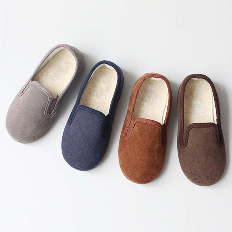 BBK Korea Winter 2016 boys shoes Warm Plush Padding Slide Wild suede shoes plus velvet Kids Winter Sneakers Casual Kids Shoes