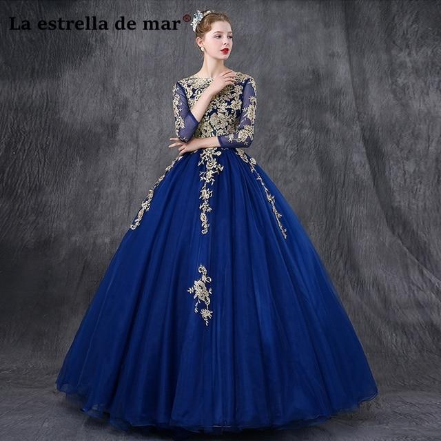 Vestidos de fiesta largos elegantes de gala 2019 lace beaded long sleeve fluffy royal blue prom dresses long pretty galajurken