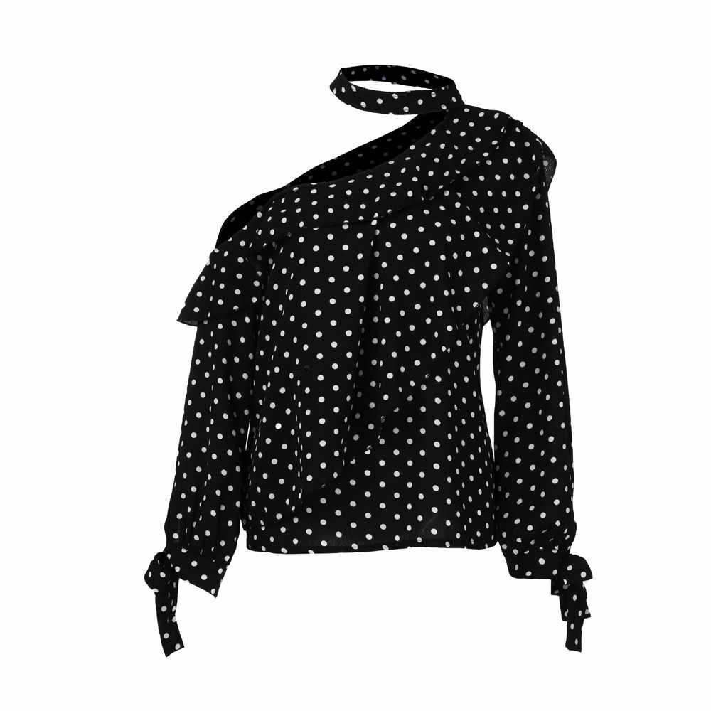 Женские топы и блузки 2018 уличная рубашка в горошек с одним плечом и длинными рукавами туника с оборками Женская верхняя одежда женская