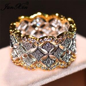 JUNXIN роскошное женское мужское обручальное кольцо белого желтого золота винтажные свадебные кольца для мужчин и женщин белое циркониевое к...