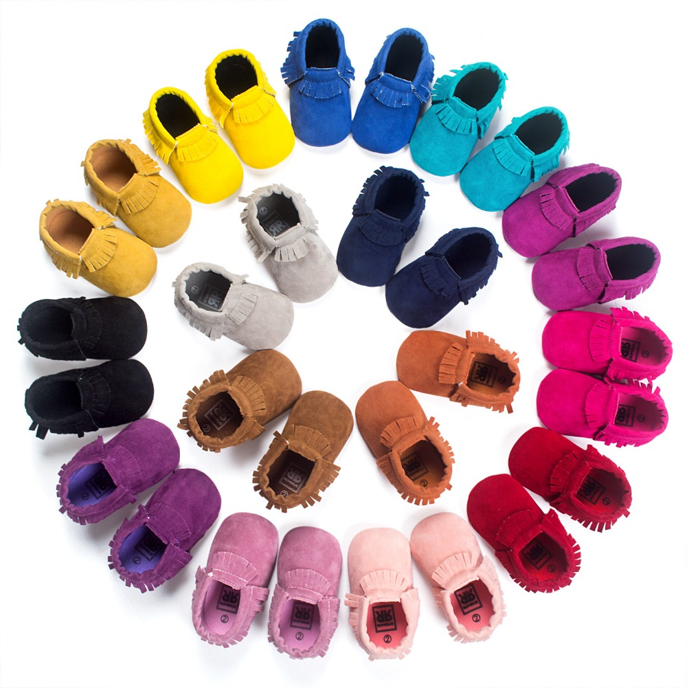 2016 PU Suede Leather Newborn Baby Boy Girl Baby Moccasins Soft Moccs Shoes Bebe Fringe Soft Soled Non-slip Footwear Crib Shoe