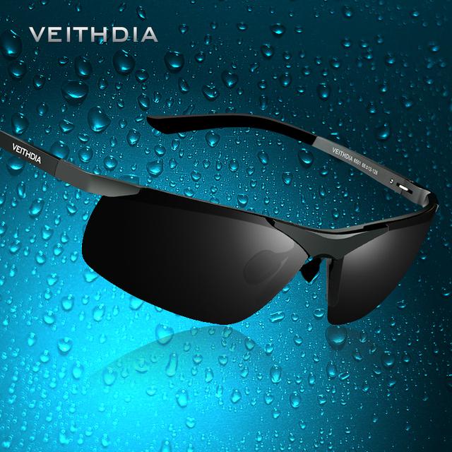 VEITHDIA ÓCULOS de 6501 óculos de Sol Espelho de Condução De Alumínio E Magnésio Polarizada Óculos De Sol Dos Homens Da Marca Do Esporte Dos Homens de Sol De Vidro Do Vintage