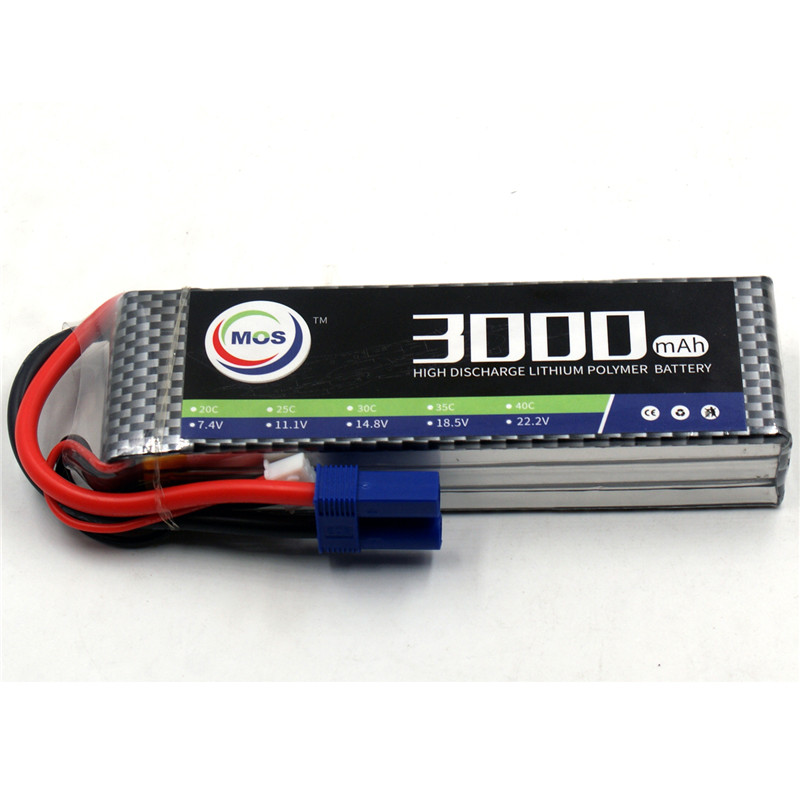 MOS 3S RC Lipo Battery 11.1V 3000mAh 30C Li-Po Batteries For RC Airplane Drone Car Rechargeable Batteria Free Shipping mos 2s rc lipo battery 7 4v 2600mah 40c max 80c for rc airplane drone car batteria lithium akku free shipping