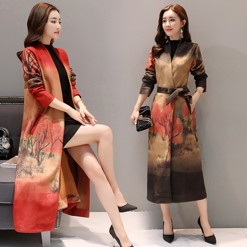 2019 New Women Windbreaker Deerskin Suede Print Coats Autumn Fashion Long   Trench   Coat Spring Plus size Slim Female Overcoat x958
