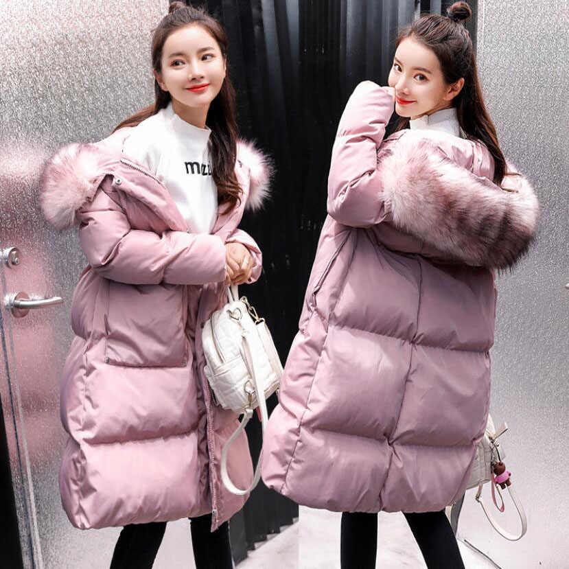 f32d30342b29a ... Women's winter knee-high cotton long style coat new MOM thickening jacket  pregnant fur collar ...
