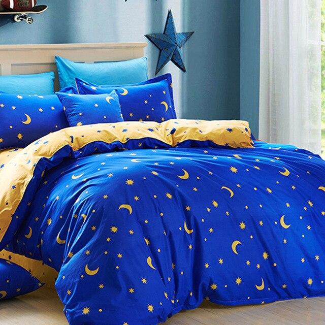 Popular Star Moon theme Bedding Set 4pcs Bed Linen Bed Sheets Duvet Cover  UQ78