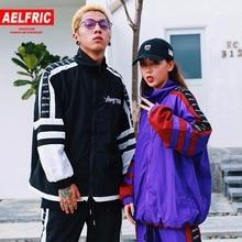 Aelfric Hip Hop Jacket Windbreaker Striped Patchwork Men Vintage Harajuku Street