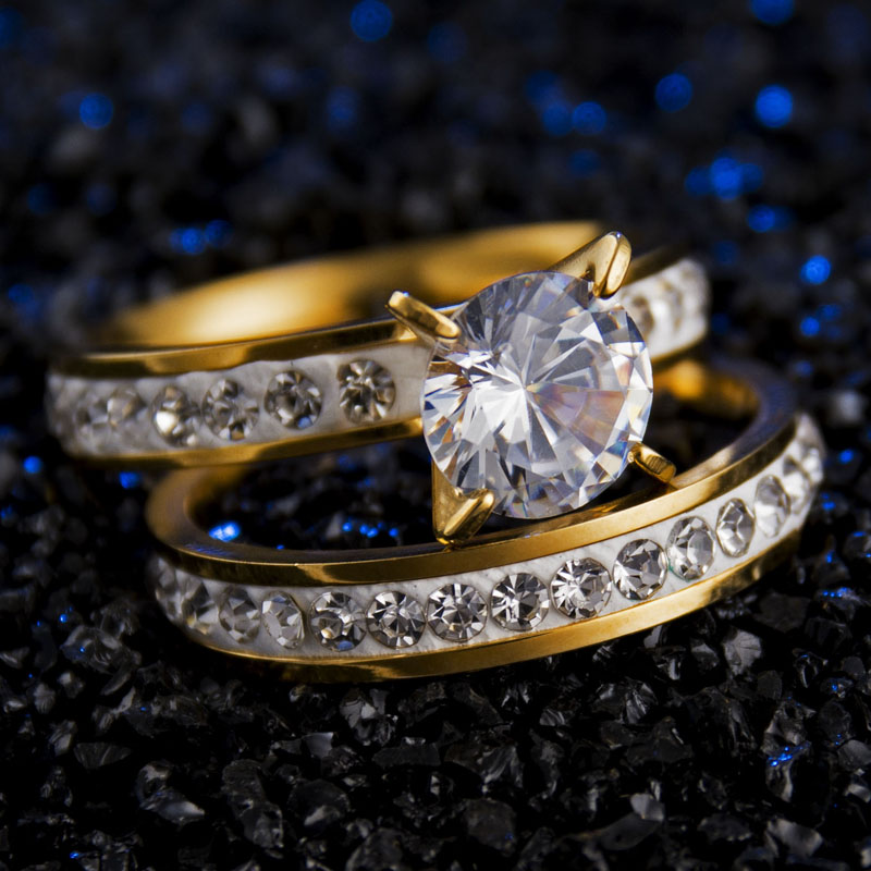 2017 New Fashion Jewelry Stainless Steel CZ Stone Finger Rings