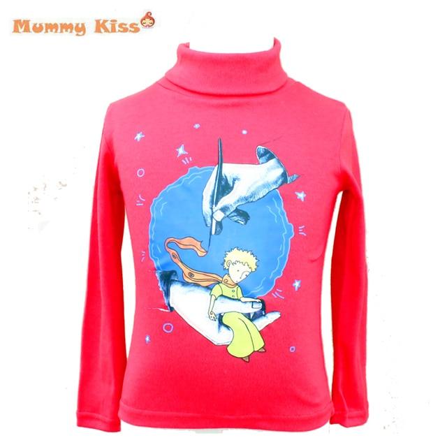 2016 новый маленький принц футболки большие мальчики девочки с высоким воротником пуловер топы детей с длинными рукавами майка дна рубашки tyh-50561
