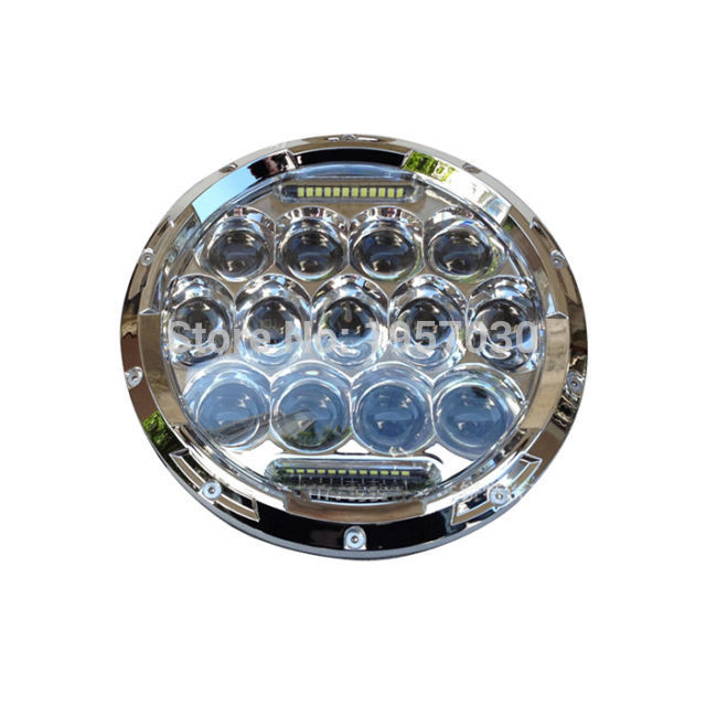 ФОТО 1Pair Round 7 Inch 75W Auto LED Headlight 12V 24V Hi/Lo Beam For wrangler and Truck
